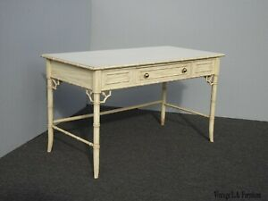 Vintage Chinese Chippendale Chinoiserie Off White Writing Desk By Thomasville