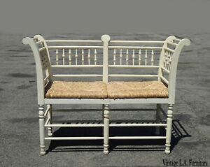 Vintage French Country Off White Bench Settee W Rush Seat And Surround Backrest