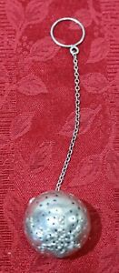 Watrous Sterling Silver Tea Ball Strainer W Star Floral Decoration Chain