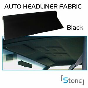 Automotive Black Headliner Fabric Upholstery Foam Backed Ceiling Fixed 100 X60
