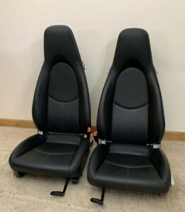 Porsche Cayman S Driver Passenger Front Seats Black Leather 911 997 987 Heated