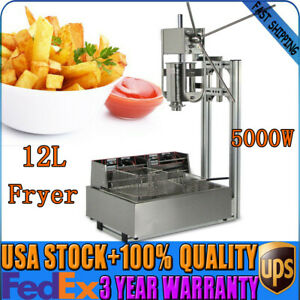 3l Stainless Steel Manual Commercial Spanish Churros Maker Machine W 12 Fryer