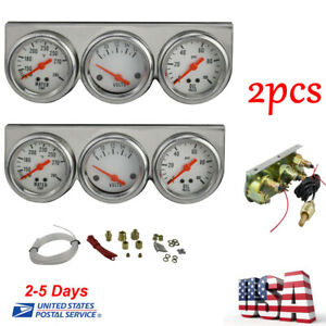 2xuniversal 50mm Chrome Oil Pressure Water Volt Triple 3 Gauge Set Gauges Kit Us