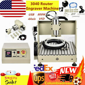 Usa 4axis Usb 3040 Router Metal wood Engraver Milling Machine Vfd 800w 3d Cutter