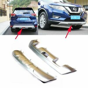 Car Front rear Bumper Protector Plate Cover For Nissan X trail 2019 Silver 2pcs