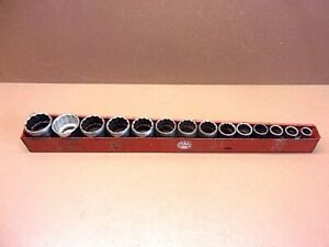 Vintage S K 1 2 Drive 14 Piece Socket Set 7 16 1 1 4 With Mac Socket Tray