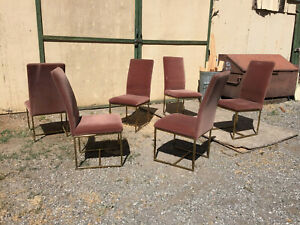 Mid Century Modern Cal Style Set Of 6 Milo Baughman Gold Toned Dining Chairs
