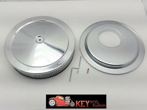 14 X3 Chrome Round Air Cleaner Set Kit Hei Offset Base Chevy Sbc 350 400 305