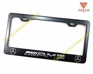 Mercedes Amg Logo And Silver Text In 2x2 Gloss Real Carbon Fiber Plate Frame