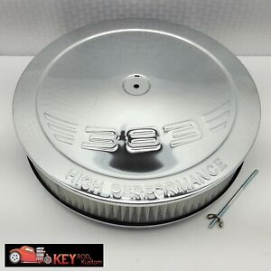 14 Round Chrome Air Cleaner Assembly Flat Base 3 Filter Sbc 383 Logo Holley