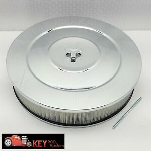 14 Round Chrome Air Cleaner Assembly Kit Recessed Base 3 Filter Sbc Bbc Holley