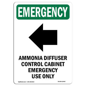 Osha Emergency Sign Ammonia With Symbol made In The Usa