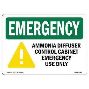 Osha Emergency Sign Ammonia Diffuser Control With Symbol made In The Usa