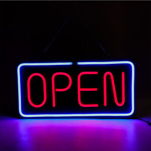 Neon Open Sign 24x12 Inch Led Light 30w Horizontal Bright Home Power Adapter Us