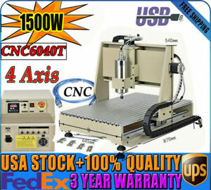1500w 4axis 6040 Cnc Router Usb Engraving Milling Machine Wood 3d Cutter Vfd New