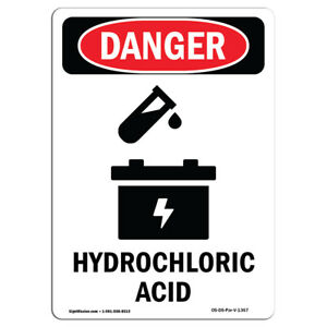 Osha Danger Sign Hydrochloric Acid Heavy Duty Sign Or Label
