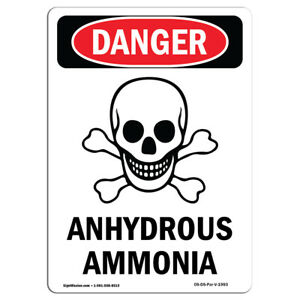 Osha Danger Sign ghs Anhydrous Ammonia Heavy Duty Sign Or Label