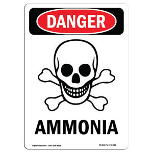 Osha Danger Sign ghs Ammonia Heavy Duty Sign Or Label
