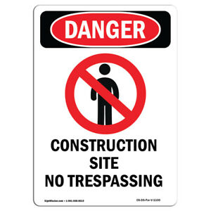Osha Danger Sign Construction Site No Heavy Duty Sign Or Label