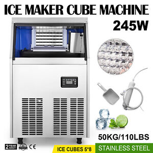 60kg 132lbs Commercial Bar Ice Maker Cube Machine Stainless Steel 300w 110v Us