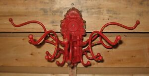 Coat Hat Rack Wrought Iron Farmhouse Red 5 Arm Primitive French Country Decor