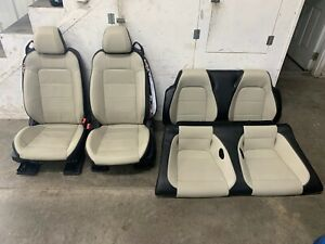 2015 2017 Ford Mustang Gt Black Cream Leather Front Rear Seats Power Oem