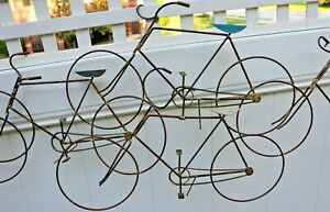 Vintage Mid Century Curtis Jere Copper Wire Wall Sculpture Bicycles Signed 79