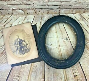 Vintage Wood Oval Picture Frame 14 With Old Picture Under Glass
