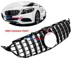 For Mercedes Gtr Style C W205 C250 C43 Amg 2015 18 Black Chrome Grill Fit Camera