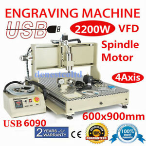 Usb 4 Axis 6090 Cnc Router Engraver 2 2kw Spindle Woodworking Engraving Machine