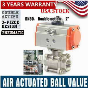 New 2 Inch 3 piece Pneumatic Air Actuated Ball Valve Double Acting 1000psi Usa