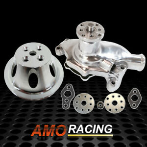 Polished Short Water Pump High Volume Chrome 1 Groove Pulley Fit Sbc Chevy 350