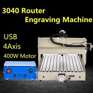 Usb 4 Axis 3040 Cnc Router Engraver Engraving Milling Machine 110v Desktop 400w