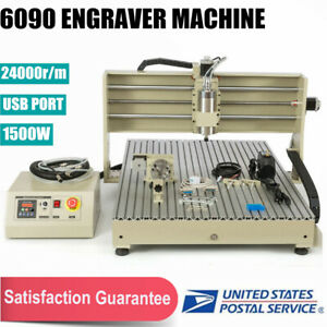 1 5kw 4axis 6090 Vfd Spindle Motor Cnc Router Mill Engraver Machine Usb Usa