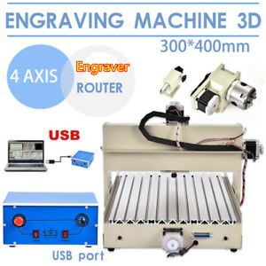 3040 400w 4axis Cnc Rounter Engraver Wood Pcb Carving Cutting Machine Usb Port