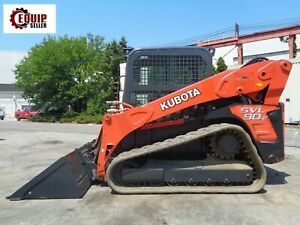 2012 Kubota Svl90 2 Skid Steer Loader Enclosed Cab Rubber Tracks