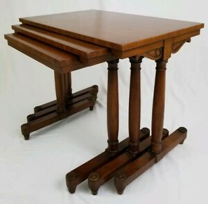 3 Heritage Walnut Nested Stacking Tables Sheraton Federal Traditional Vintage