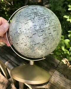 Replogle 6 Moon Lunar Globe Metal Vtg 1969 Apollo 2 Landing Sites Craters Stand