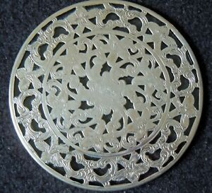 Signed Webster Filigree Sterling Silver Glass Bottle Glass Coaster Trivet 3
