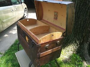 1800 S Antique Arch Top Camel Back Hump Old Flowers Steamer Trunk