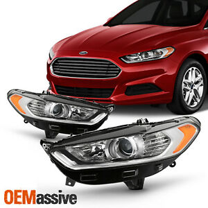 For 2013 16 Ford Fusion 4door halogen Sty Projector Headlights Left right Pair