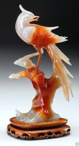 A015 Chinese Carved Red And White Chalcedony Bird On Stand 20th Century