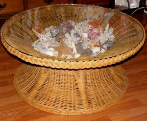 Vtg Wicker Coffee Table New Glass Top Gorgeous