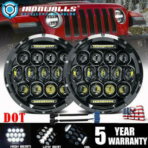 Dot 7 Inch Round Black Led Headlights Halo Hi lo For Jeep Wrangler Jk Tj Cj Lj