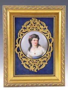 Antique Bronze Wood Frame Enamel Painting Porcelain Plaque Portrait Lady Girl