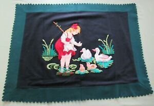 Estate Antique Stumpwork Girl Feeding Ducks On Wool Felt 31x24 Embroidery