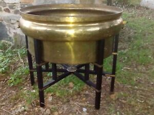 Huge Copper Brass Planter Pot Stand Handles Insert Coffee Table Base