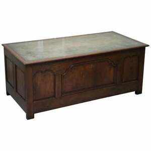 Stunning Circa 1900 Oak Green Leather Topped Desk Or Shops Counter Arts Crafts