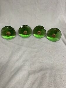 Set Of 4 Vintage Green Faceted Cut Glass Curtain Tie Backs