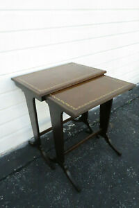 Mahogany Leather Top Set Of Two Nesting Tables 9728